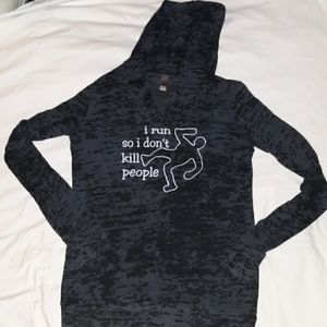 I Run So I Don't Kill People LS Hooded T-Shirt M